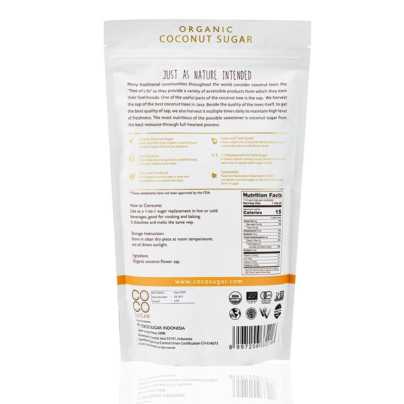 Coco Sugar: Organic Granulated Coconut Flower Blossom Sugar, 454g
